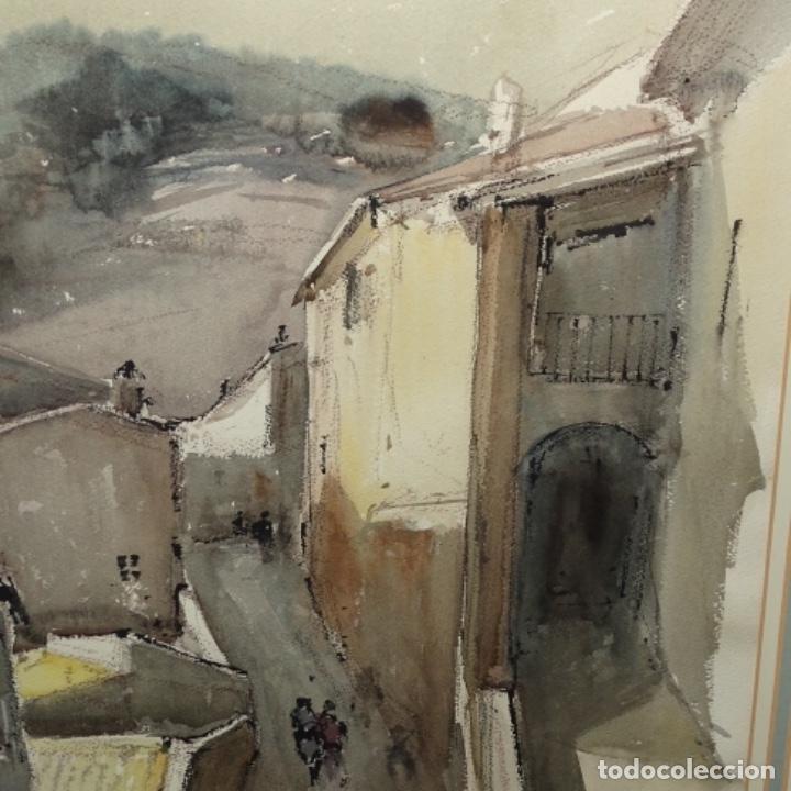Arte: Gran acuarela de Josep Martínez lozano.con museo en llança.paisaje urbano de mura.1982. - Foto 4 - 153599874