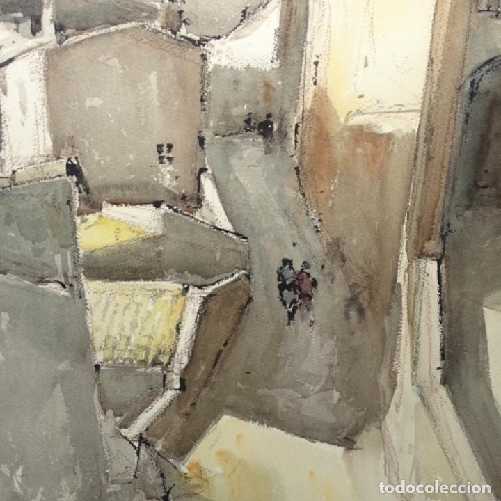 Arte: Gran acuarela de Josep Martínez lozano.con museo en llança.paisaje urbano de mura.1982. - Foto 5 - 153599874