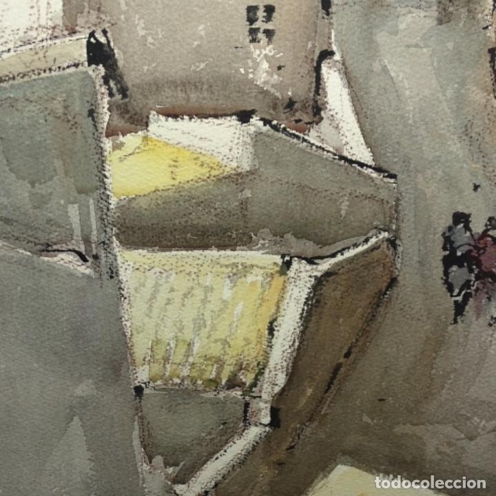 Arte: Gran acuarela de Josep Martínez lozano.con museo en llança.paisaje urbano de mura.1982. - Foto 7 - 153599874