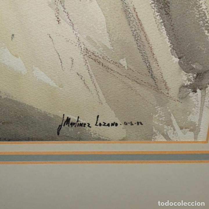 Arte: Gran acuarela de Josep Martínez lozano.con museo en llança.paisaje urbano de mura.1982. - Foto 8 - 153599874
