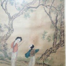 Arte: ACUARELA JAPONESA SOBRE SEDA.. Lote 153948530