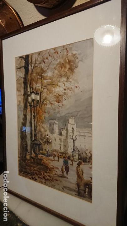Arte: Antigua acuarela del autor Fernando Lleonart paisaje plaza de Catalunya de Barcelona. - Foto 2 - 154043506