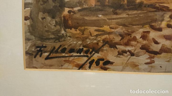 Arte: Antigua acuarela del autor Fernando Lleonart paisaje plaza de Catalunya de Barcelona. - Foto 3 - 154043506