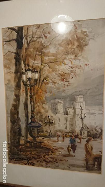 Arte: Antigua acuarela del autor Fernando Lleonart paisaje plaza de Catalunya de Barcelona. - Foto 4 - 154043506