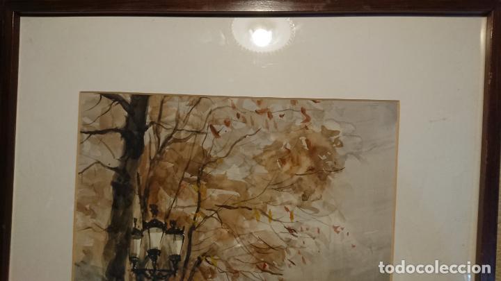 Arte: Antigua acuarela del autor Fernando Lleonart paisaje plaza de Catalunya de Barcelona. - Foto 5 - 154043506