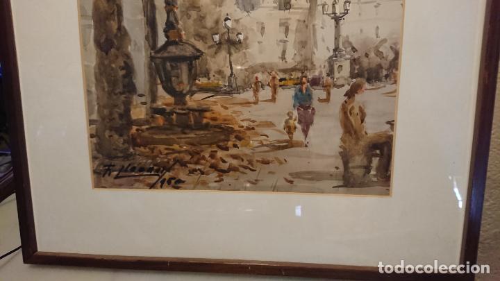 Arte: Antigua acuarela del autor Fernando Lleonart paisaje plaza de Catalunya de Barcelona. - Foto 6 - 154043506