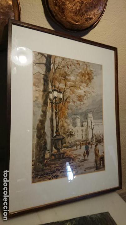 Arte: Antigua acuarela del autor Fernando Lleonart paisaje plaza de Catalunya de Barcelona. - Foto 9 - 154043506