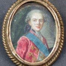 Art: MINIATURA RETRATO CABALLERO ACUARELA SOBRE VITELA FRANCIA SIGLO XVIII. Lote 154284786