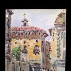 Arte: ANTIGUA ACUARELA DE LA PLAZA DE SAN FELIPE, F. BUENO, ZARAGOZA,. Lote 154499386