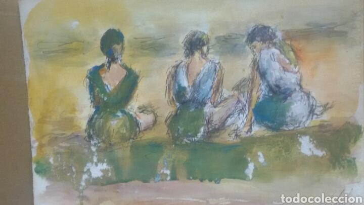 ACUARELA A TRES HERMANAS/B CHICA TOMANDO TE (Arte - Acuarelas - Contemporáneas siglo XX)