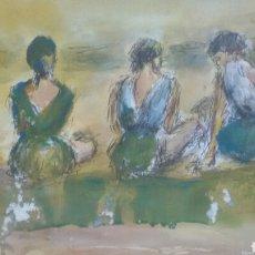 Arte: ACUARELA A TRES HERMANAS/B CHICA TOMANDO TE. Lote 154833770