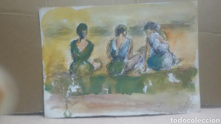 Arte: Acuarela A tres hermanas/B chica tomando te - Foto 2 - 154833770