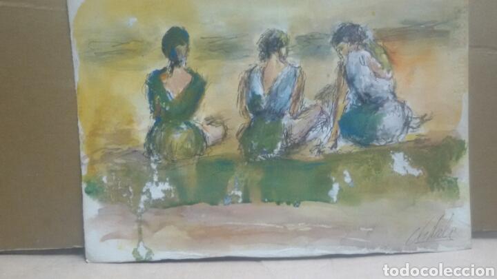 Arte: Acuarela A tres hermanas/B chica tomando te - Foto 3 - 154833770