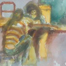 Arte: ACUARELA UNA NOCHE CON LA GUITARRA. Lote 154837274