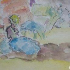 Arte: ACUARELA A DE PICNIC/B RECUERDOS. Lote 154842426