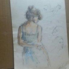 Arte: ACUARELA A CHICA COQUETA/B CHICA EN LA MACA. Lote 154853858