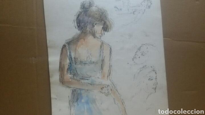 Arte: Acuarela A Chica coqueta/B chica en la maca - Foto 2 - 154853858