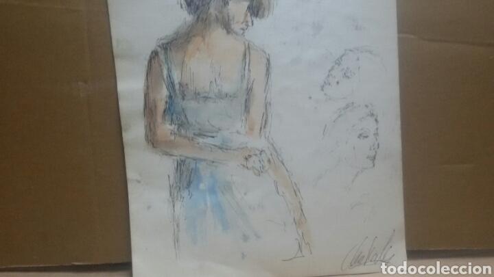 Arte: Acuarela A Chica coqueta/B chica en la maca - Foto 3 - 154853858