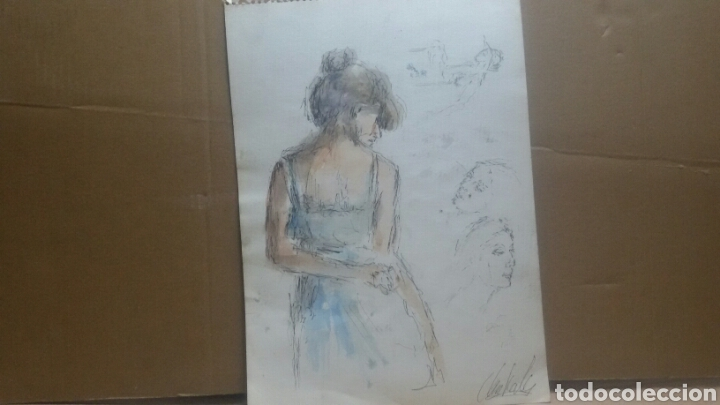 Arte: Acuarela A Chica coqueta/B chica en la maca - Foto 4 - 154853858