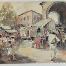 Arte: ACUARELA ANTIGUA ENMARCADA ESCENA PUEBLO FIRMADA MÉXICO. Lote 155015794