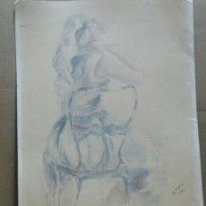 Arte: ACUARELA CHICA SENTADA M.FARRE 82. Lote 155188046