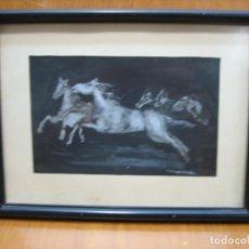 Arte: ACUARELA DE FRANCISCO JURADO MIALDEA. CABALLOS. Lote 155314170