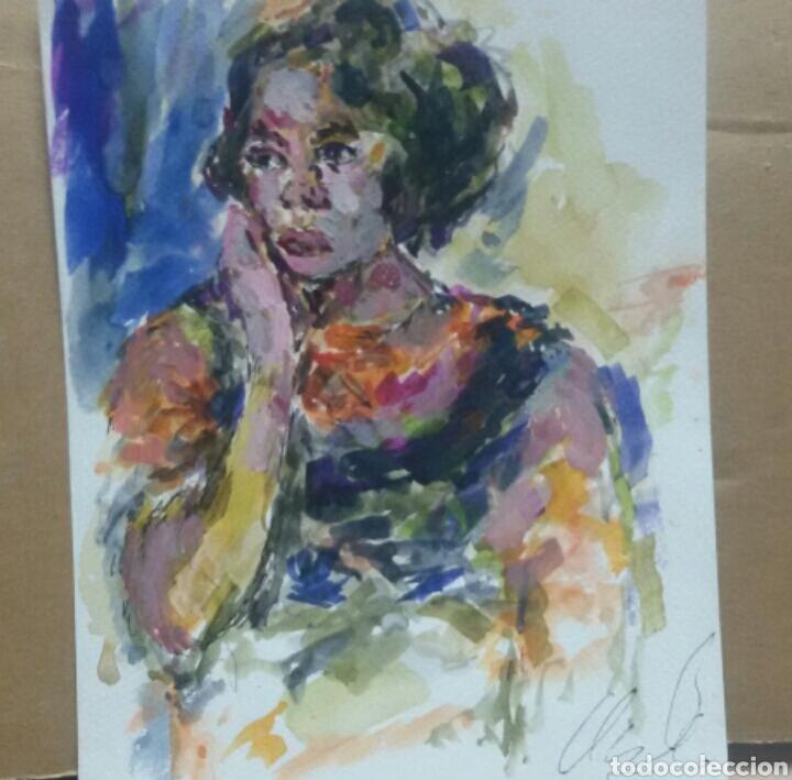 Arte: Retrato chica años 60 original - Foto 2 - 155330334