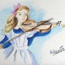 Arte: NIÑA TOCANDO EL VIOLIN OBRA DE GILABERTE. Lote 155399026