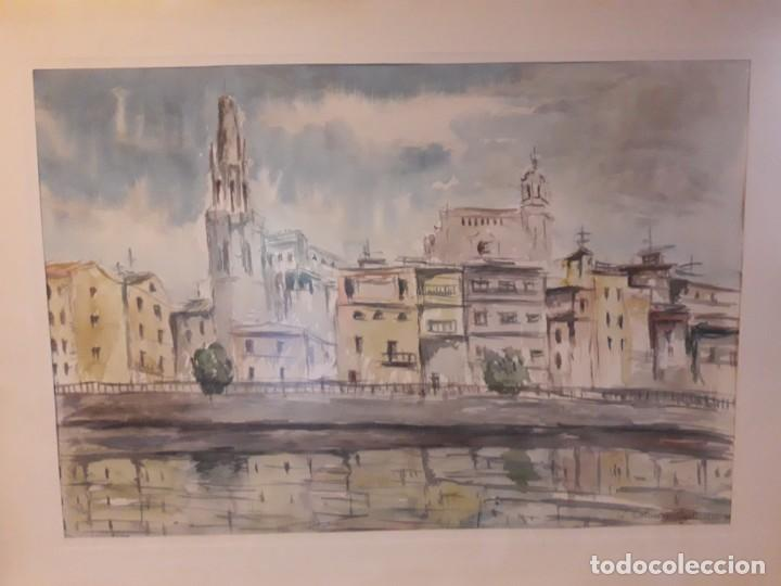 Arte: Precioso cuadro acuarela Vista Girona Joan Colomer Camarasa Año 1986 - Foto 2 - 155525650