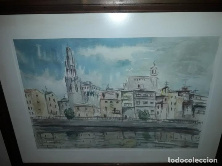 Arte: Precioso cuadro acuarela Vista Girona Joan Colomer Camarasa Año 1986 - Foto 3 - 155525650