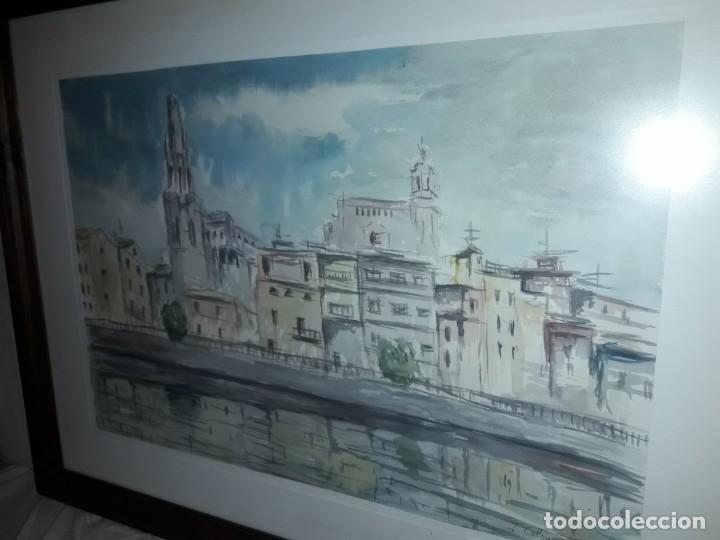 Arte: Precioso cuadro acuarela Vista Girona Joan Colomer Camarasa Año 1986 - Foto 4 - 155525650