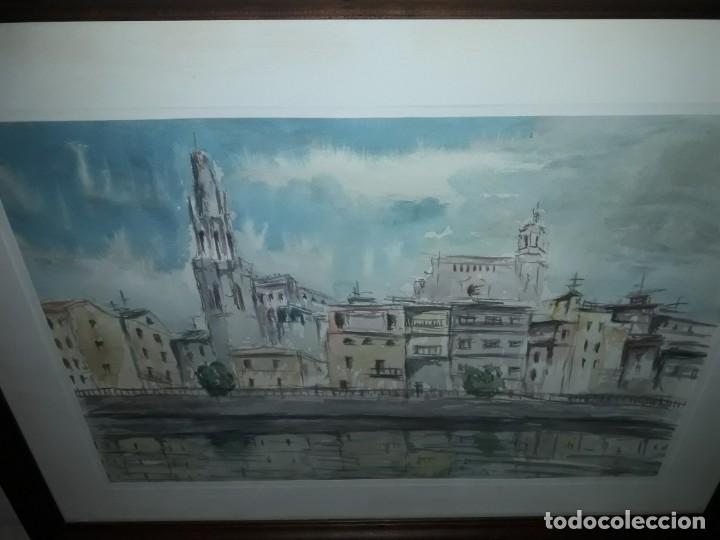 Arte: Precioso cuadro acuarela Vista Girona Joan Colomer Camarasa Año 1986 - Foto 5 - 155525650