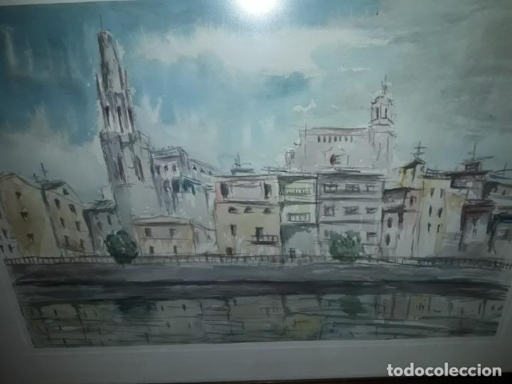 Arte: Precioso cuadro acuarela Vista Girona Joan Colomer Camarasa Año 1986 - Foto 6 - 155525650