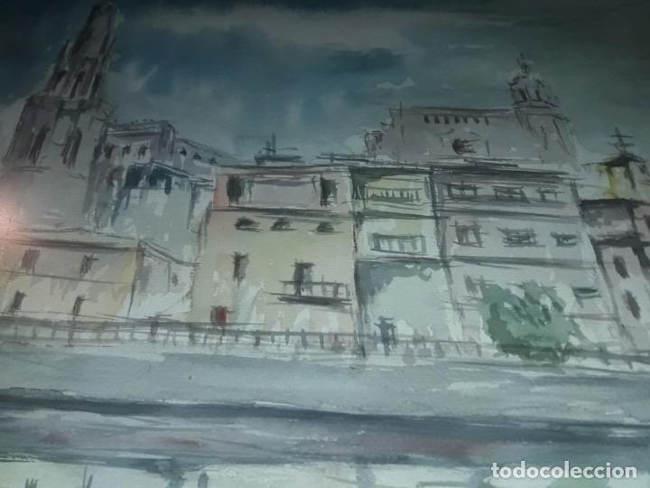 Arte: Precioso cuadro acuarela Vista Girona Joan Colomer Camarasa Año 1986 - Foto 8 - 155525650