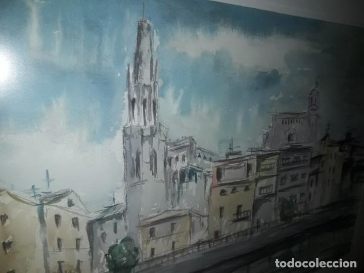 Arte: Precioso cuadro acuarela Vista Girona Joan Colomer Camarasa Año 1986 - Foto 10 - 155525650
