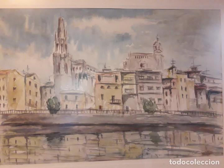 Arte: Precioso cuadro acuarela Vista Girona Joan Colomer Camarasa Año 1986 - Foto 12 - 155525650
