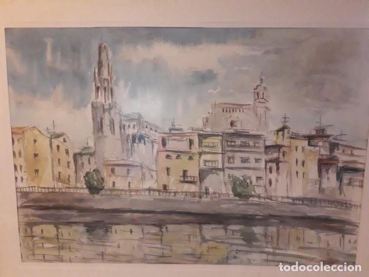 Arte: Precioso cuadro acuarela Vista Girona Joan Colomer Camarasa Año 1986 - Foto 14 - 155525650