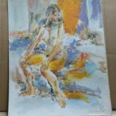 Arte: ACUARELA DESNUDA EN LA HABITACIÓN ORIGINAL. Lote 155697930