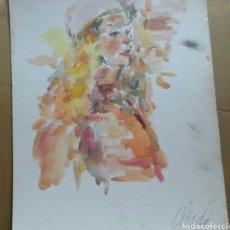 Arte: ACUARELA RETRATO CHICA TURISTA ORIGINAL. Lote 155698082
