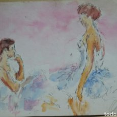 Arte: ACUARELA LAS BAILARINAS ORIGINAL. Lote 155699510
