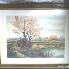 Arte: PLANA DE VIC PAISAJE ACUARELA ORIGINAL JOAN VILÀ MONCAU. MED. 59 X 47 CM. Lote 155701706
