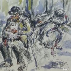 Arte: ACUARELA EL GITANO DEL BARRIO ORIGINAL. Lote 155736314