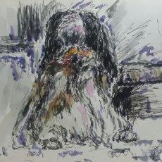 Arte: ACUARELA EL GITANO DEL BARRIO ORIGINAL. Lote 155737102