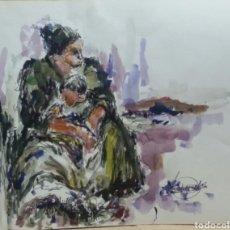 Arte: ACUARELA CUIDANDO DEL NIETO ORIGINAL. Lote 155737630