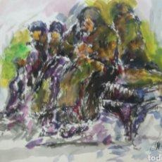 Arte: ACUARELA LA GENTE DEL PUEBLO ORIGINAL. Lote 155738198