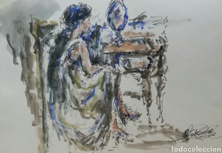 ACUARELA MUJER JUNTO AL TOCADOR ORIGINAL (Arte - Acuarelas - Contemporáneas siglo XX)