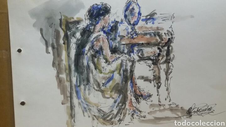 Arte: Acuarela mujer junto al tocador original - Foto 2 - 155739990