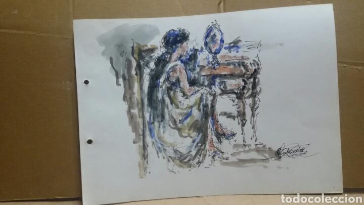 Arte: Acuarela mujer junto al tocador original - Foto 3 - 155739990