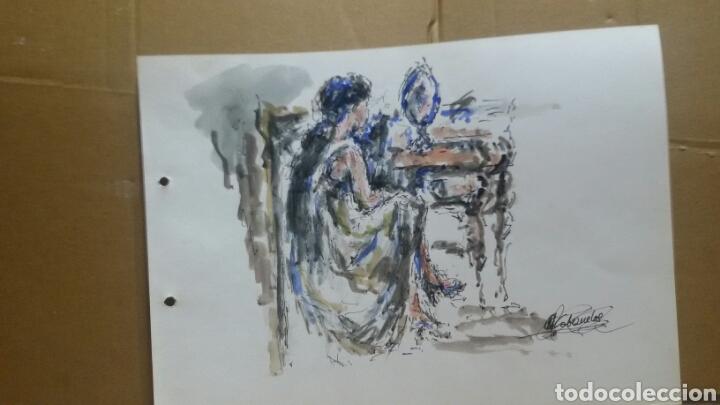 Arte: Acuarela mujer junto al tocador original - Foto 4 - 155739990