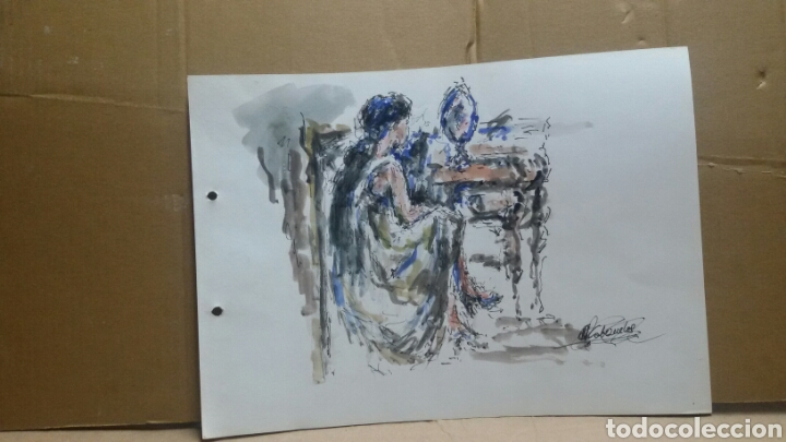 Arte: Acuarela mujer junto al tocador original - Foto 5 - 155739990